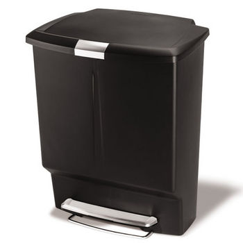 simplehuman Rectangular Recycler, Black Plastic, 16 Gallon (60L)