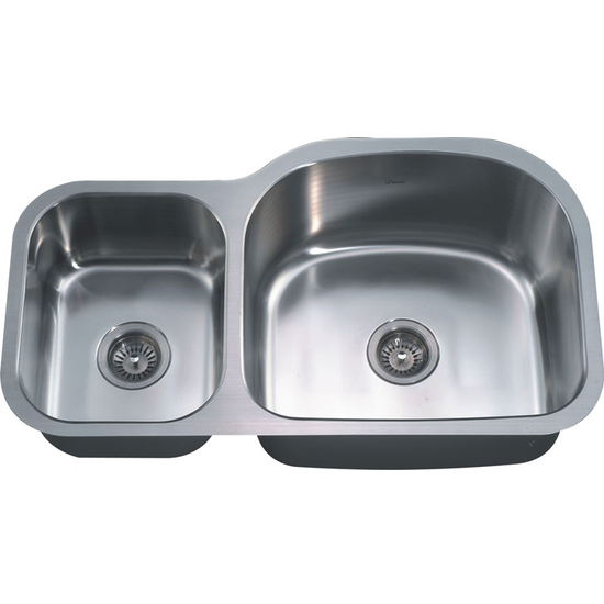 Stainless Steel Double-Bowl Sink with Small Bowl on Left