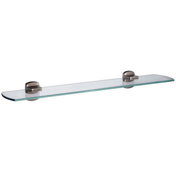 "Smedbo Cabin Brushed Nickel Glass Bathroom Shelf 24"" L"