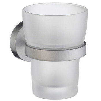 Smedbo Home Line Brushed Chrome Holder with Frosted Glass Tumbler