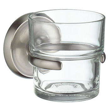 "Smedbo Villa Brushed Nickel Holder with Clear Glass Tumbler 3-7/8"" Depth"