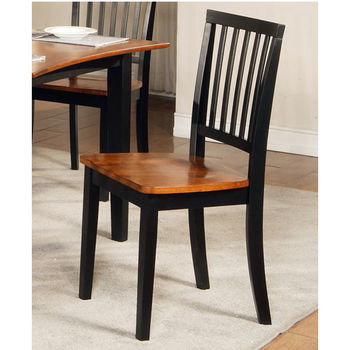 Steve Silver Branson Side Chair Set of 2, Black and Cherry Finish