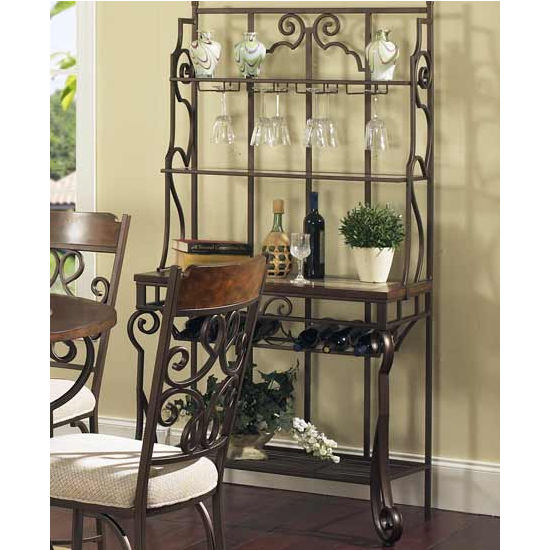 Steve Silver Callistro Bakers Rack, Metal Base and Faux Marble Inlay