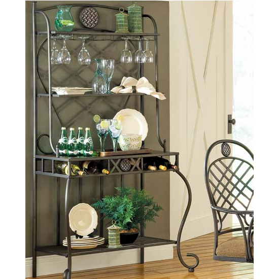 Steve Silver Wimberly Bakers Rack, Metal Base and Dark Cherry Finish