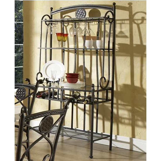 Steve Silver Brookfield Bakers Rack, Metal Base and Glass Top