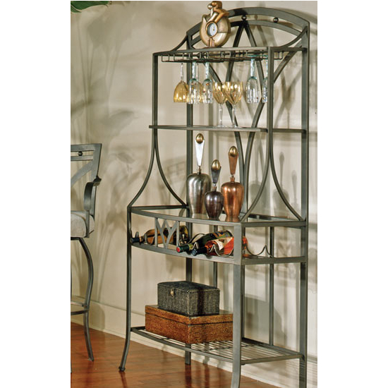 Steve Silver Madrid Bakers Rack, Metal Base and Glass Top