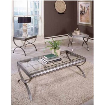 Steve Silver Emerson 3 Pack with 2 End Tables & Cocktail Table, Silver