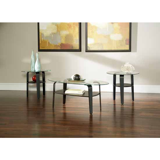 Steve Silver Rio 3-Pack Occasional Set with 2 End Tables & Cocktail Table, Glass Top and Espresso Finish Base