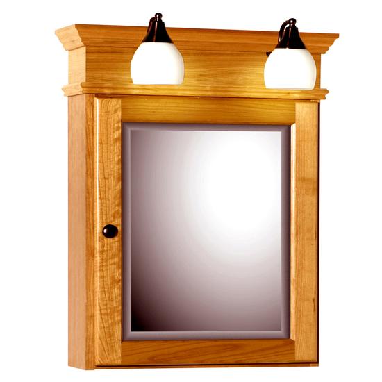 Strasser Woodenworks 24 Inch Rounded Profile Single Door Surface Mount Medicine  Cabinet With Lights