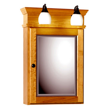 Strasser Woodenworks 19-Inch Rounded Profile Single Door Surface-Mount Medicine Cabinet with Lights
