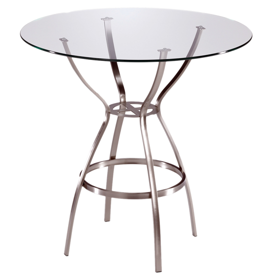 Trica Amsterdam Dining Height Table with Glass Top, 28-1/2 H, 30 Dia. Glass Top, Anitque Copper