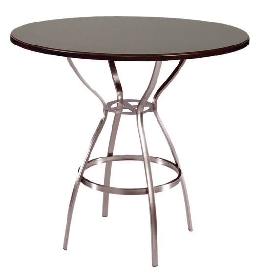 Trica Amsterdam Dining Height Table with Cinnamon Melamine Top, 29 H, 30 Dia. Melamine Top, Anitque Copper