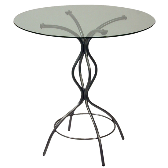 Trica Carol Dining Height Table with Glass Top, 29-1/2 H, 30 Dia. Glass Top, Starry Night