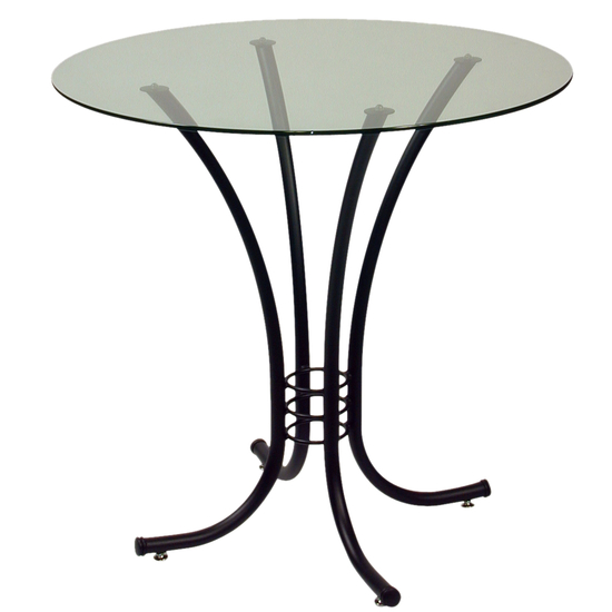 Trica Erika Dining Height Table with Glass Top, 29-1/2 H, 30 Dia. Glass Top, Volcano