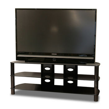 Gun Metal Black Posts & Black Glass, Shown with TV