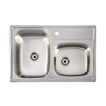 "Drop-In Series Stainless Steel Double Bowl Sink, 33"" W x 22"" D x 8"" H"