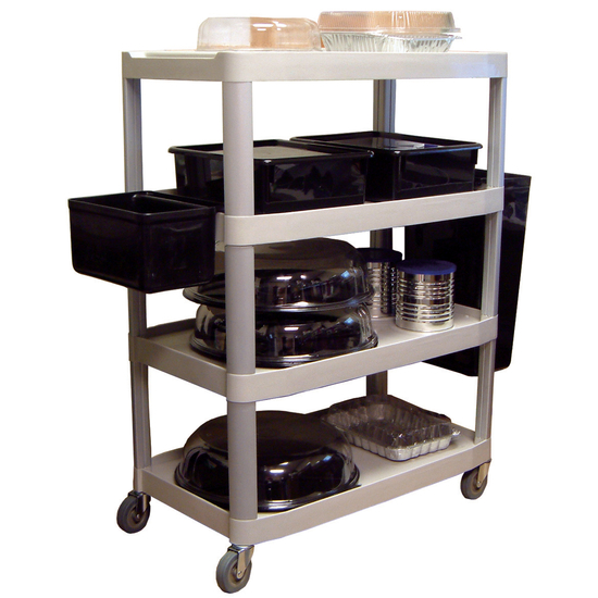 Universal Products Open 4 Shelf Serving/Bussing Cart in Gray