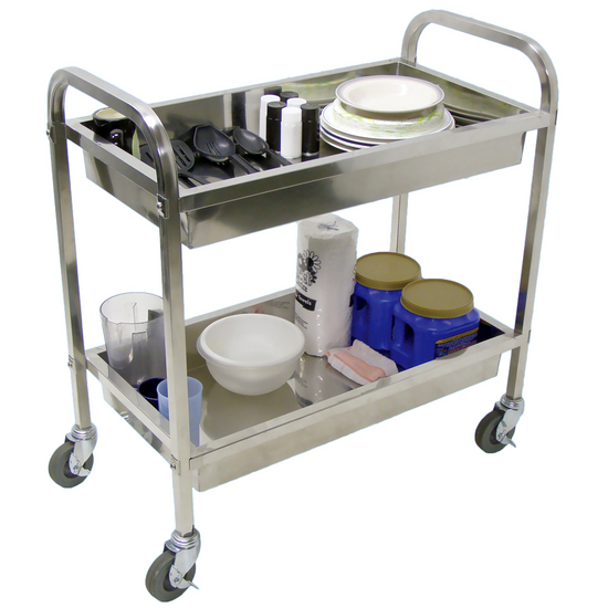 Universal Products 2 Shelf Stainless Steel Tub Transport Carts