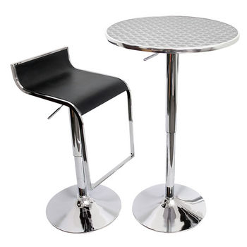 Vegas D�cor Bistro Bar Table, Silver Swirl/Stainless Steel Finish