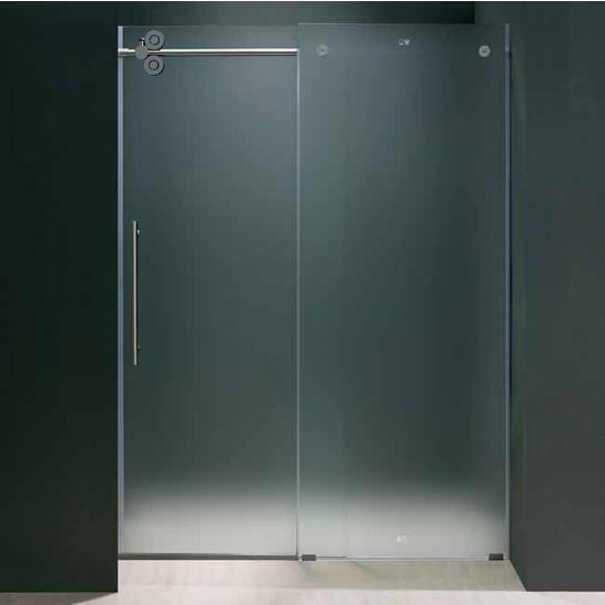 Vigo 48 Inch Frameless Shower Door 38 Frosted Glass Chrome Hardware