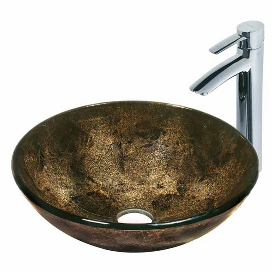 Vigo Sintra Glass Vessel Sink and Faucet Set, Wall Mounted