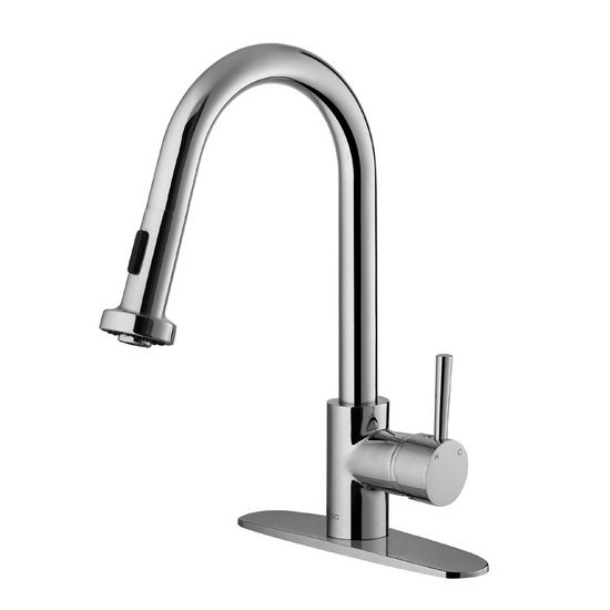 Vigo Pull-Out Spray Kitchen Faucet with Deck Plate, Chrome Finish