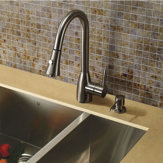 Vigo Pull-Out Spray Kitchen Faucet with Soap Dispenser, Stainless Steel Finish