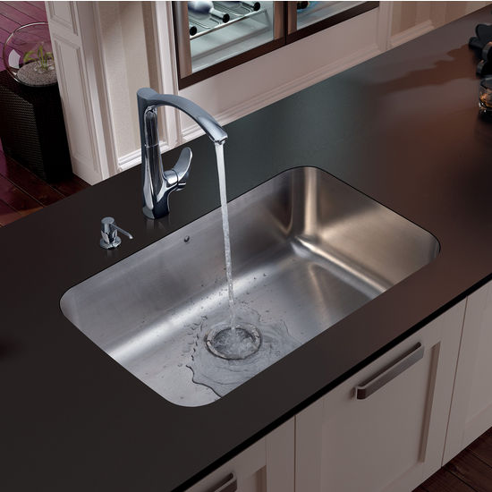 Vigo Swan Neck, Single-Hole Andromeda Kitchen Faucet with Soap Dispenser, Chrome Finish