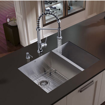 Vigo Undermount Kitchen Sink, Faucet, Two Grids, Two Strainers and Dispenser, Stainless Steel Finish