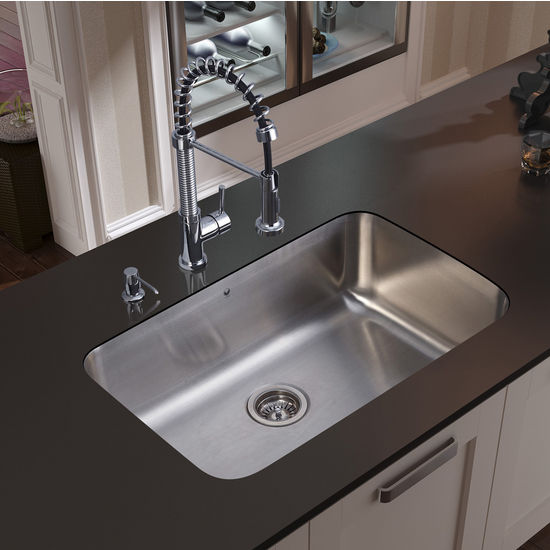 "Vigo Undermount Kitchen Sink, 18-3/4""H Faucet, Strainer and Dispenser, Stainless Steel Finish"