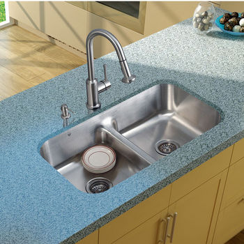 "Vigo Undermount Kitchen Sink, 16-1/2""H Faucet, Two Strainers and Dispenser, Stainless Steel Finish"