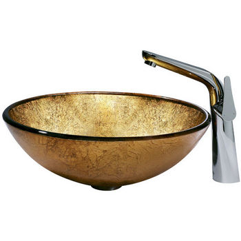 Vigo Liquid Gold Vessel Sink and Faucet with Side Lever, Chrome Finish