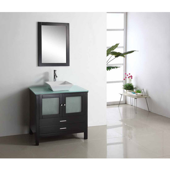 "Virtu Brentford 36"" Single Sink Bathroom Vanity, Espresso"