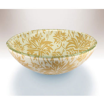 Wells Sinkware Art Glass Vessels - Damask Remix, Autumn Above Counter/ Partial Recess Bathroom Sink