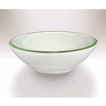 Wells Sinkware Art Glass Vessels - Milk Glass Raised Bottom Rim Above Counter Bathroom Sink