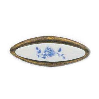 Cabinet Knob, Antique Brass/Blue Rose