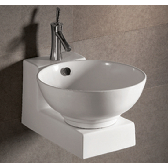 Isabella Round Above-Mount Bath Sink with Wall-Mount Base by Whitehaus