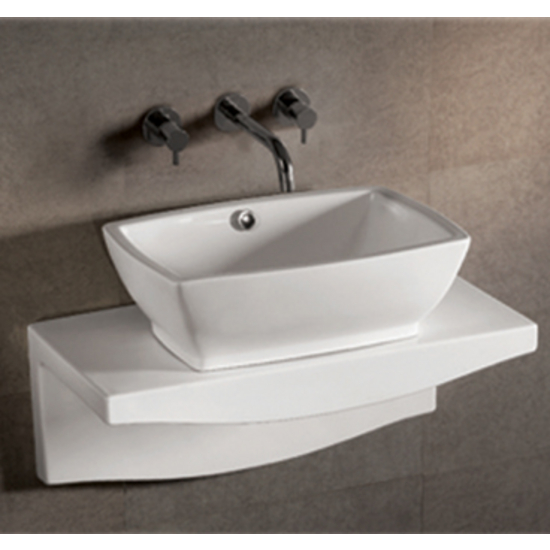 Isabella Rectangular Above-Mount Bath Sink with Wall-Mount Countertop by Whitehaus