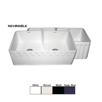 "Whitehaus Reversible Series Double Bowl Fireclay Sink with Athinahaus Front Apron, 33""W x 18""D x 10""H"