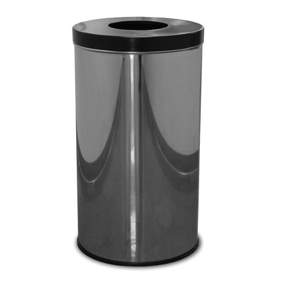 Witt Single Opening Waste Receptacle with Flat Top, Plastic Liner, Polished Metal with Black Top