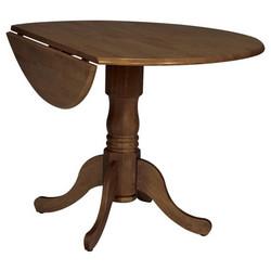 International Concepts - 42 Round Dual Drop Leaf Pedestal Table, 42 Dia x 29 1/2 H, Cottage Oak