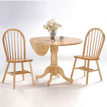 "42"" Dual Drop Leaf Pedestal Table & Matching Chairs Natural Finish"