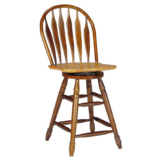 "International Concepts 24"" Seat Windsor Swivel Bar Stool, Cinnamon/Espresso"