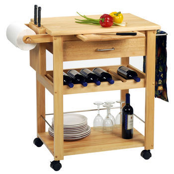 Winsome Wood Mobile Kitchen Cart with Wine Rack
