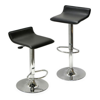 Winsome Wood Adjustable Swivel Stool with Black Faux Leather Seat