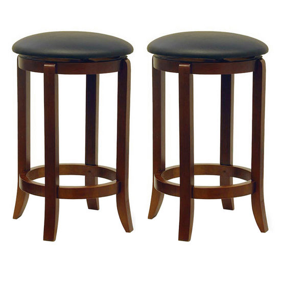 "Winsome Wood 24"" Black Swivel Stools in Set of 2 16""W x 24-33/100""H"