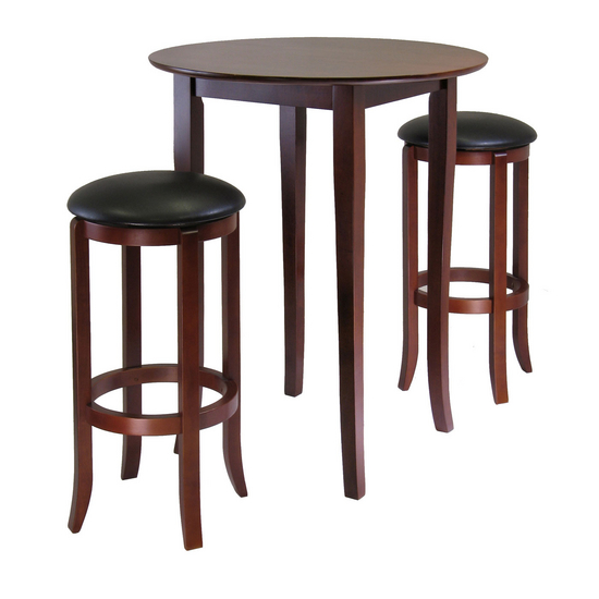 Winsome Wood Winsome Wood Fiona Round 3-Pc. High/Pub Table Set, Antique Walnut