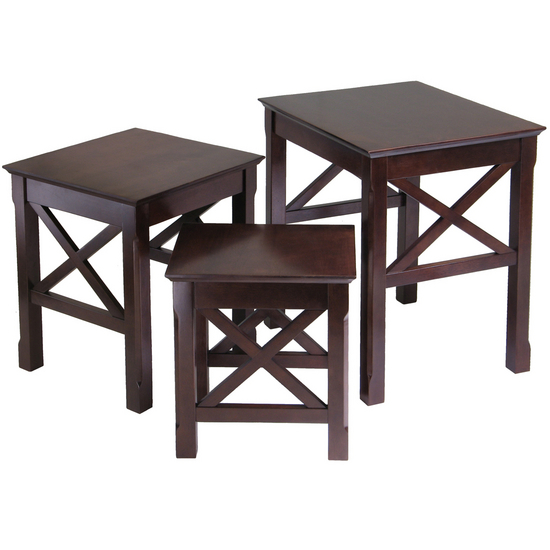 Winsome Wood Xola 3-Pc. Nesting Table, Cappuccino, 17-3/10W x 21-1/10D x 22-1/10H