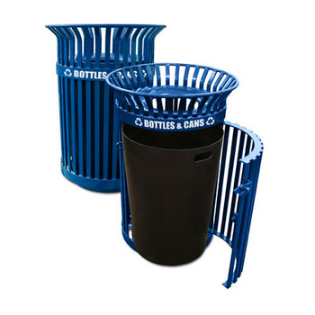Queen City Slatted Metal Recycling Receptacle