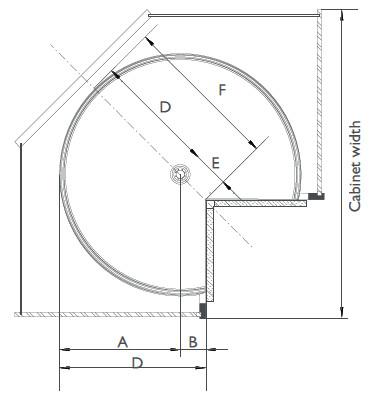 vsusan pie cut door mounted lazy susan for corner cabinets by vauth sagel. Black Bedroom Furniture Sets. Home Design Ideas